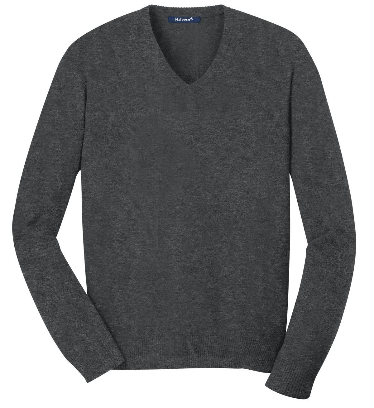 Mafoose Men's V Neck Sweater Charcoal Heather-Front
