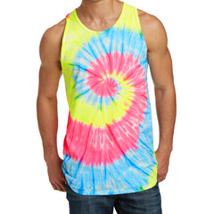 Men's Tie-Dye Tank Top - Neon Rainbow