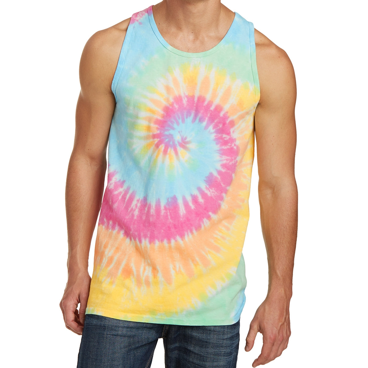 Men's Tie-Dye Tank Top - Pastel Rainbow