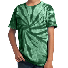 Youth Tie-Dye Tee - Forest green