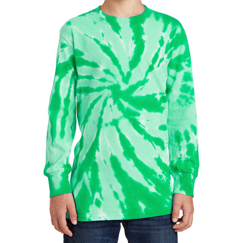 Youth Tie-Dye Long Sleeve Tee - Kelly