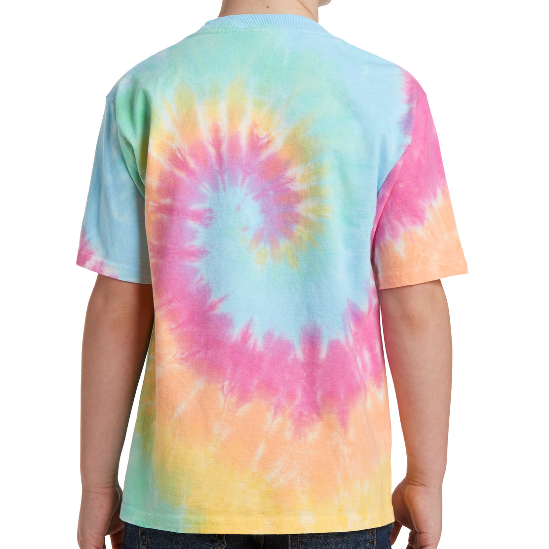 Youth Tie-Dye Tee - Pastel Rainbow