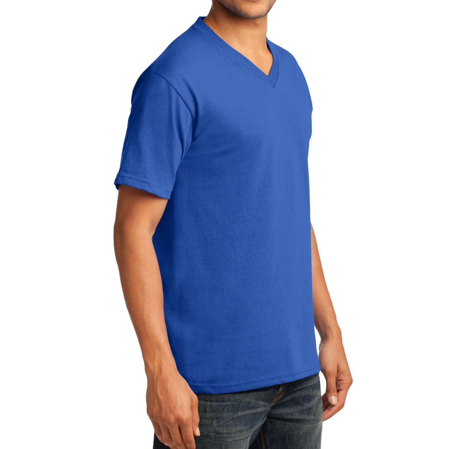 Men's Core Cotton V-Neck Tee Royal - Side
