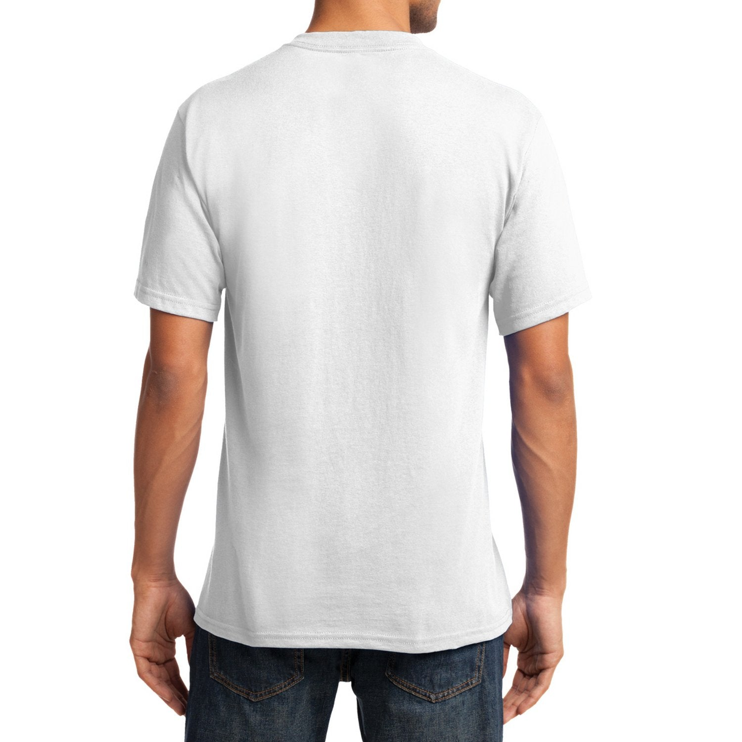 Men's Core Cotton V-Neck Tee White - Back