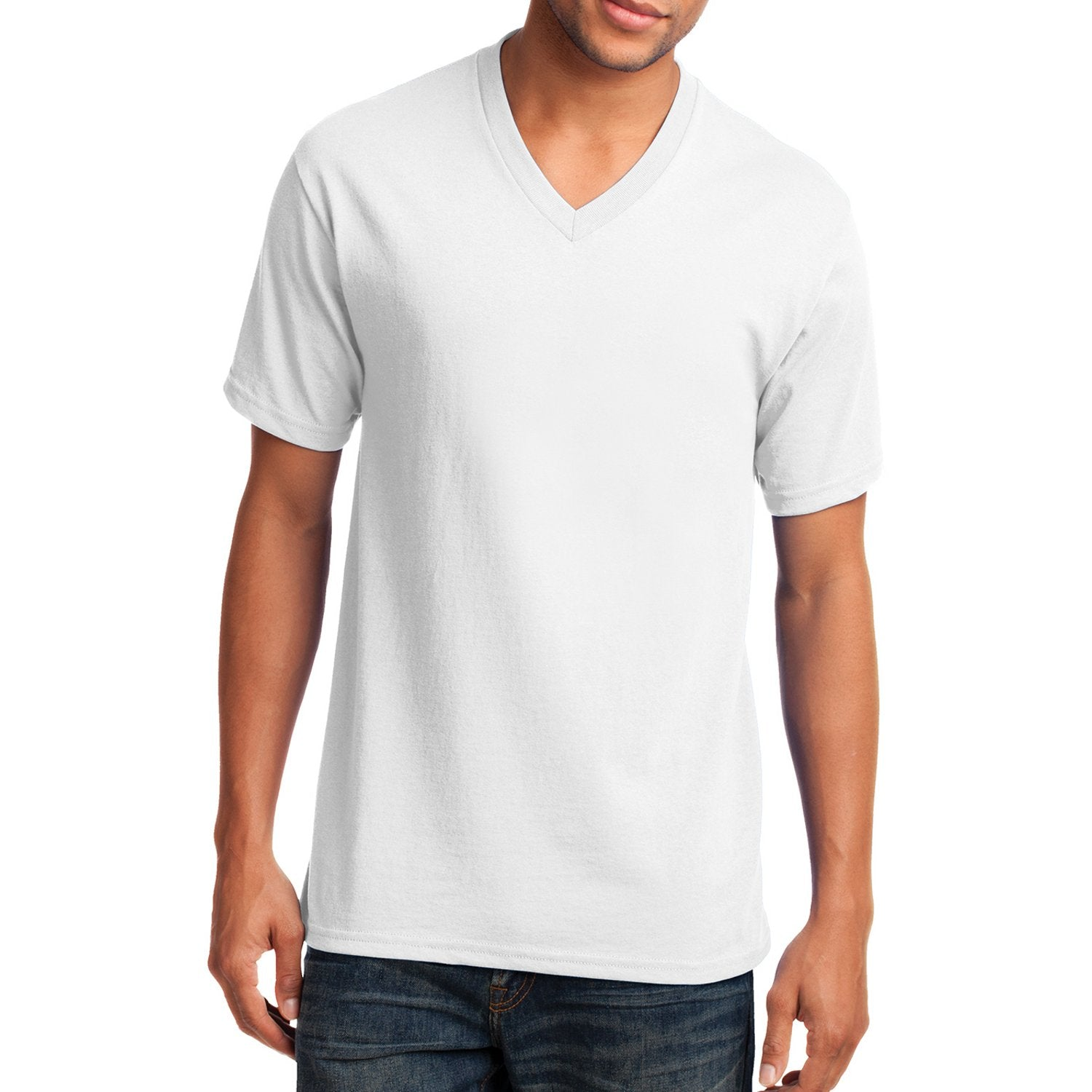 Men's Core Cotton V-Neck Tee White - Front