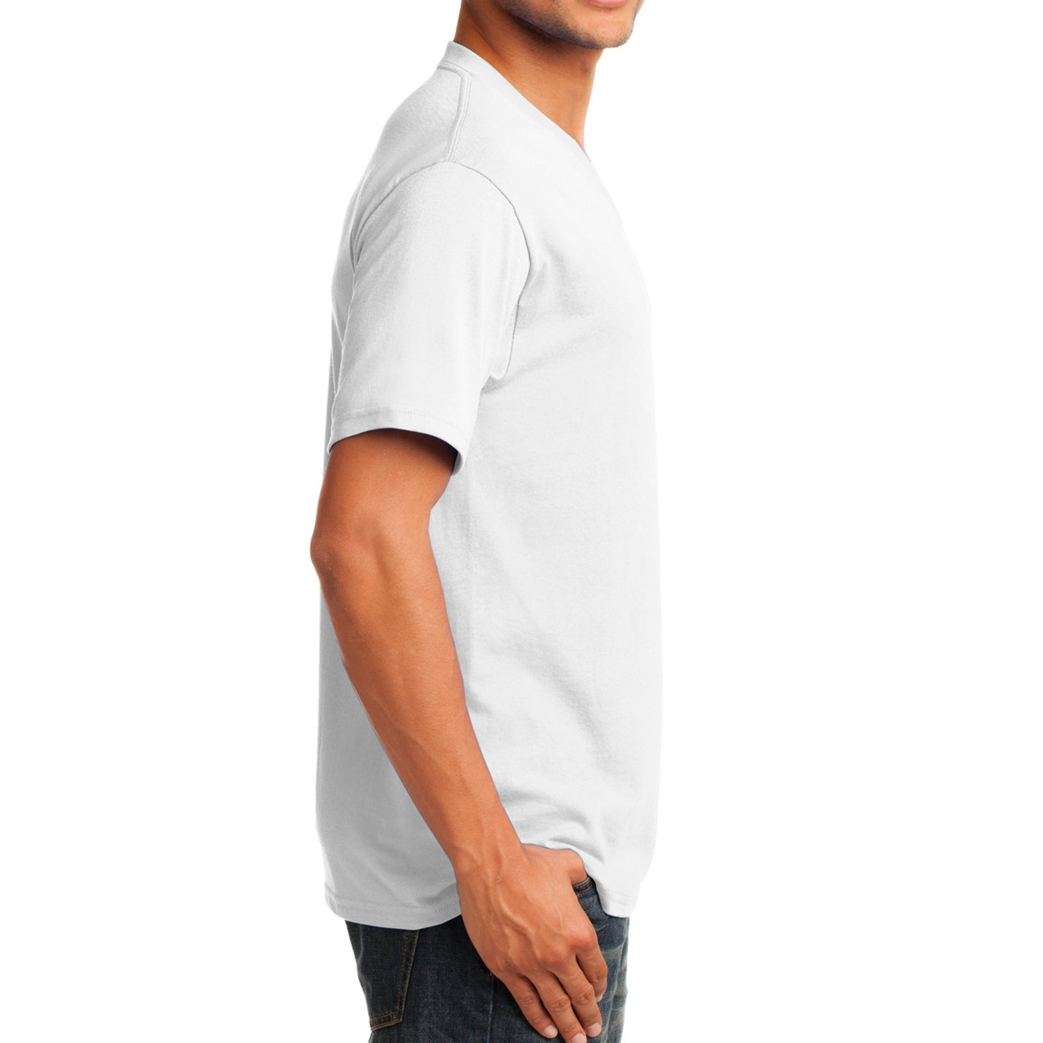 Men's Core Cotton V-Neck Tee White - Side