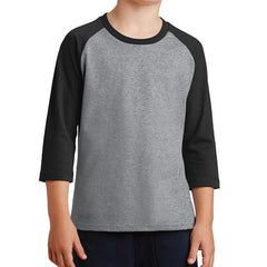Youth Core Blend 3/4-Sleeve Raglan Tee - Athletic Heather/ Jet Black