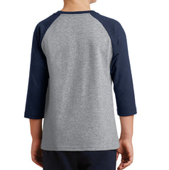 Youth Core Blend 3/4-Sleeve Raglan Tee - Athletic Heather/ Navy