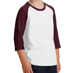 Youth Core Blend 3/4-Sleeve Raglan Tee - White/ Athletic Maroon