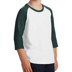 Youth Core Blend 3/4-Sleeve Raglan Tee - White/ Dark Green