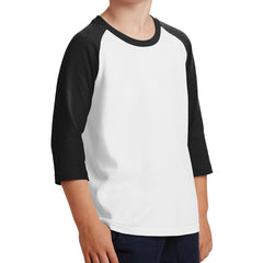 Youth Core Blend 3/4-Sleeve Raglan Tee - White/ Jet BlacK