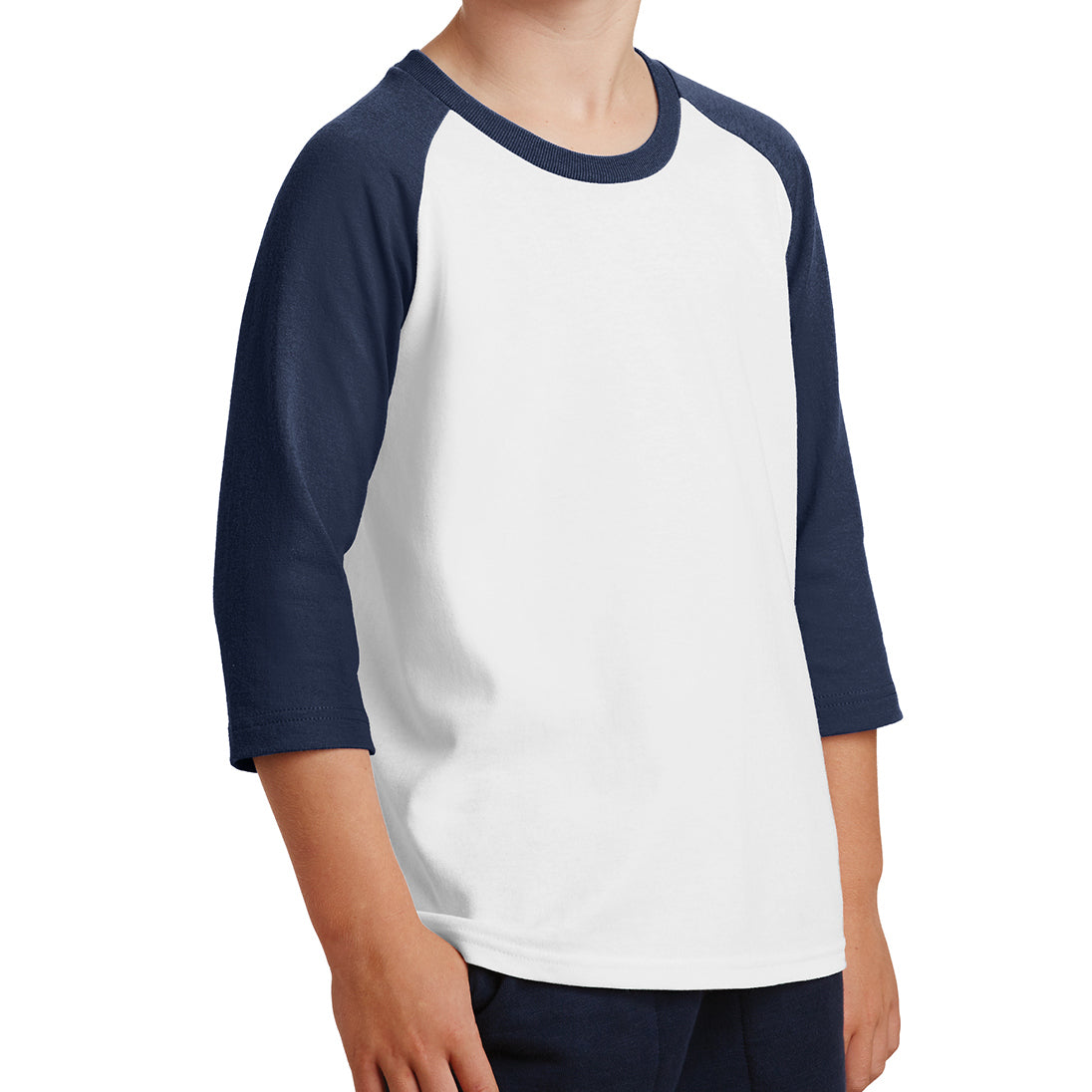 Youth Core Blend 3/4-Sleeve Raglan Tee - White/ Navy