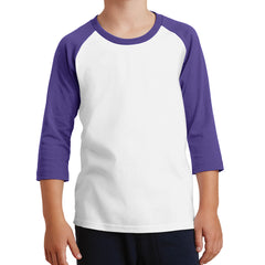Youth Core Blend 3/4-Sleeve Raglan Tee - White/ Purple