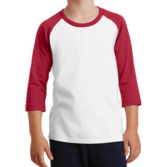 Youth Core Blend 3/4-Sleeve Raglan Tee - White/ Red