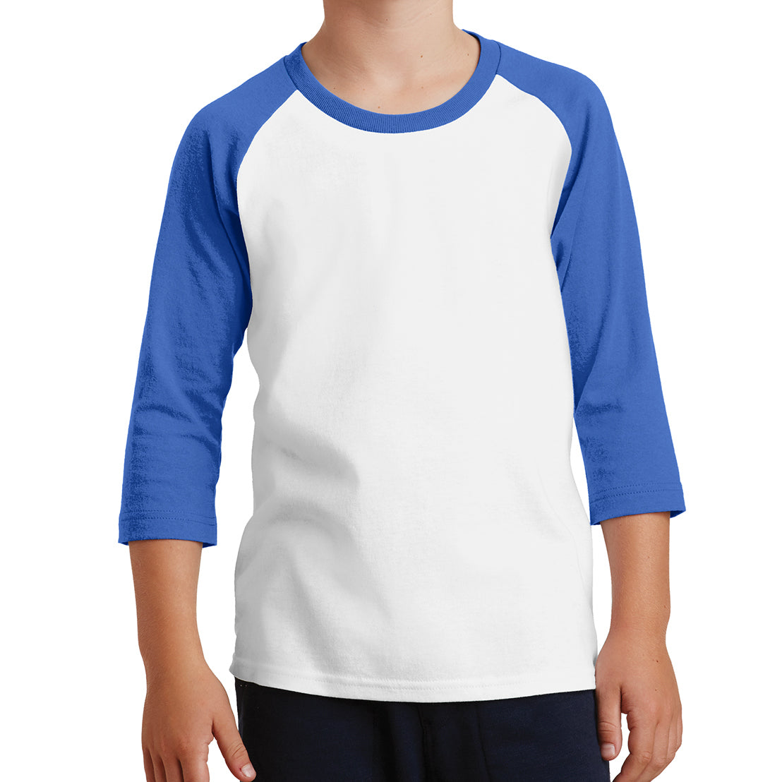Youth Core Blend 3/4-Sleeve Raglan Tee - White/ Royal