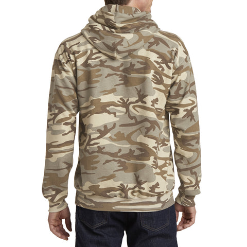 Men's Core Fleece Classic Camo Pullover Hooded Sweatshirt Desert Camo - Black