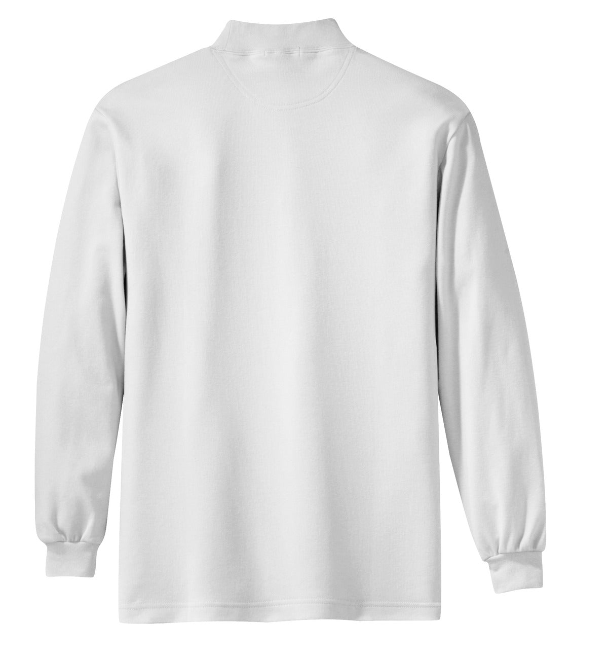 Mafoose Men's Interlock Knit Mock Turtleneck Sweaters White-Back