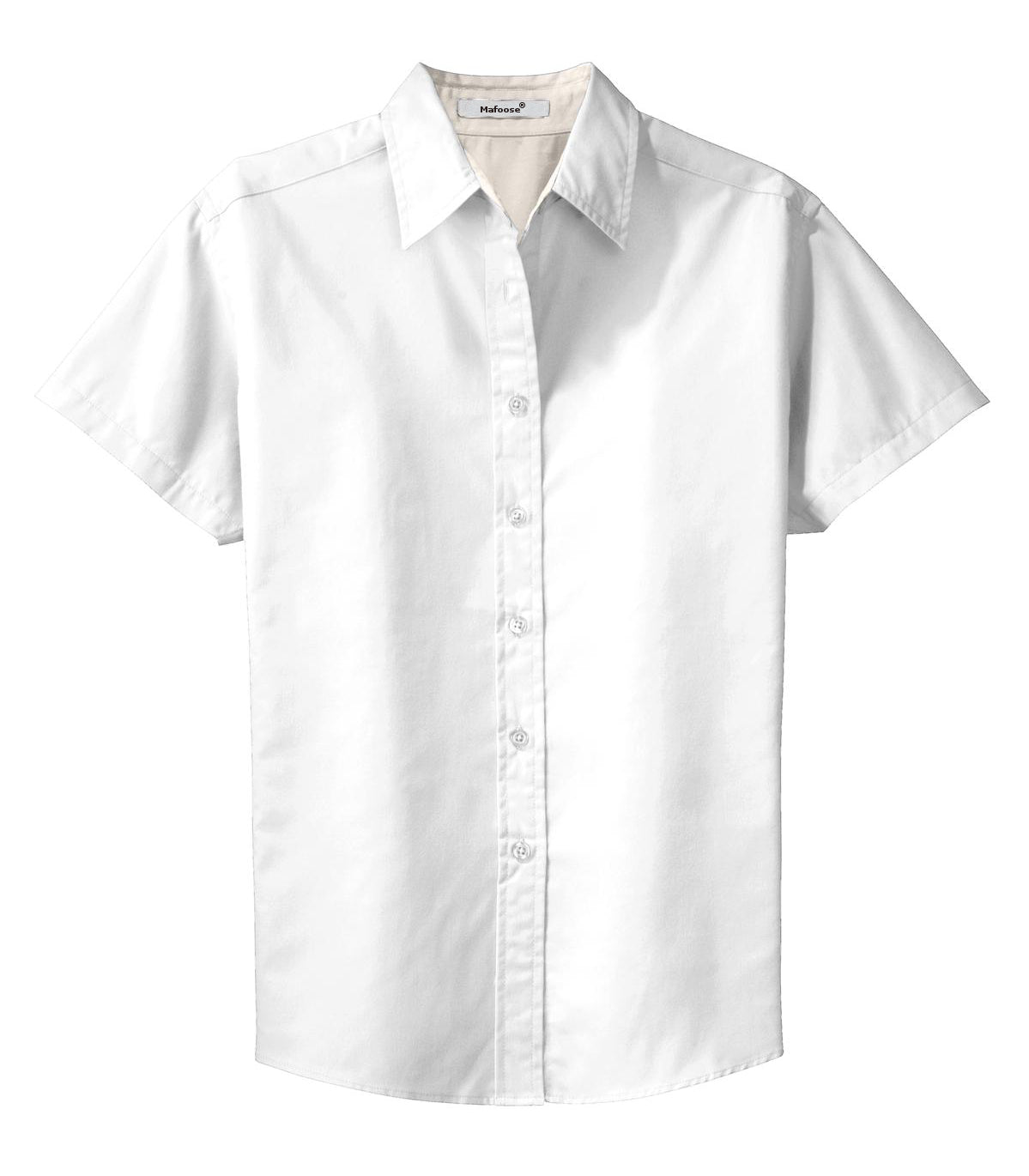 Mafoose Women's Comfortable Short Sleeve Easy Care Shirt White/Light Stone-Front