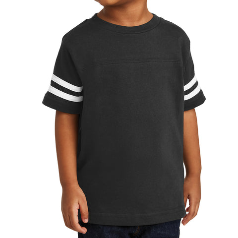 Toddler Football Fine Jersey Tee - Black/ White