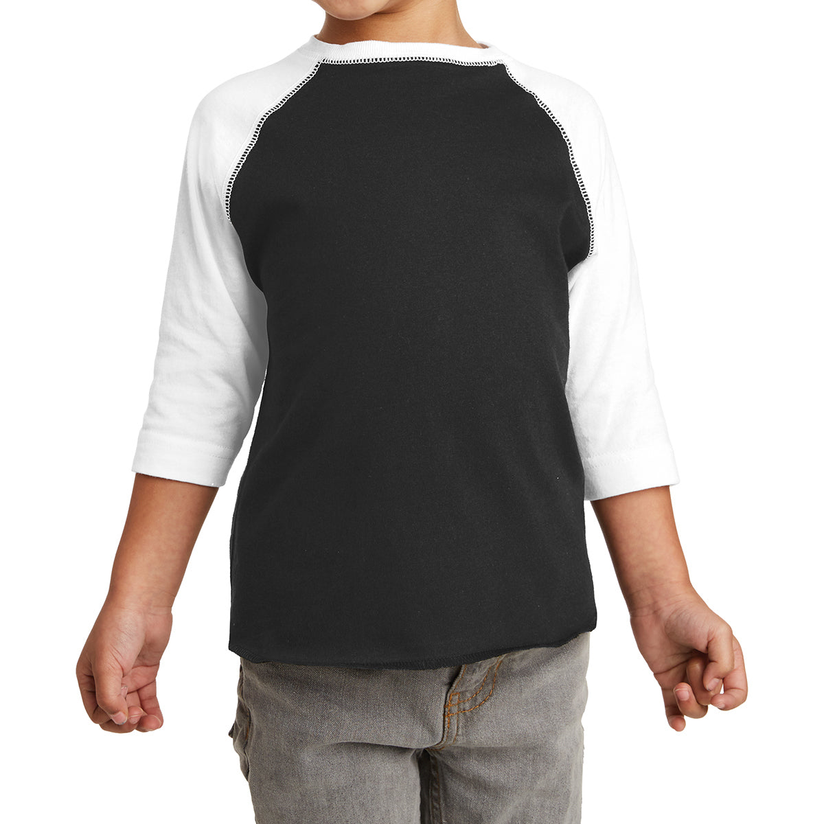 Toddler Baseball Fine Jersey Tee - Black/ White
