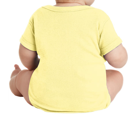 Infant Short Sleeve Baby Rib Bodysuit - Banana
