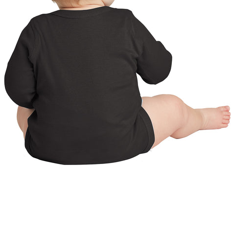 Infant Long Sleeve Baby Rib Bodysuit - Black