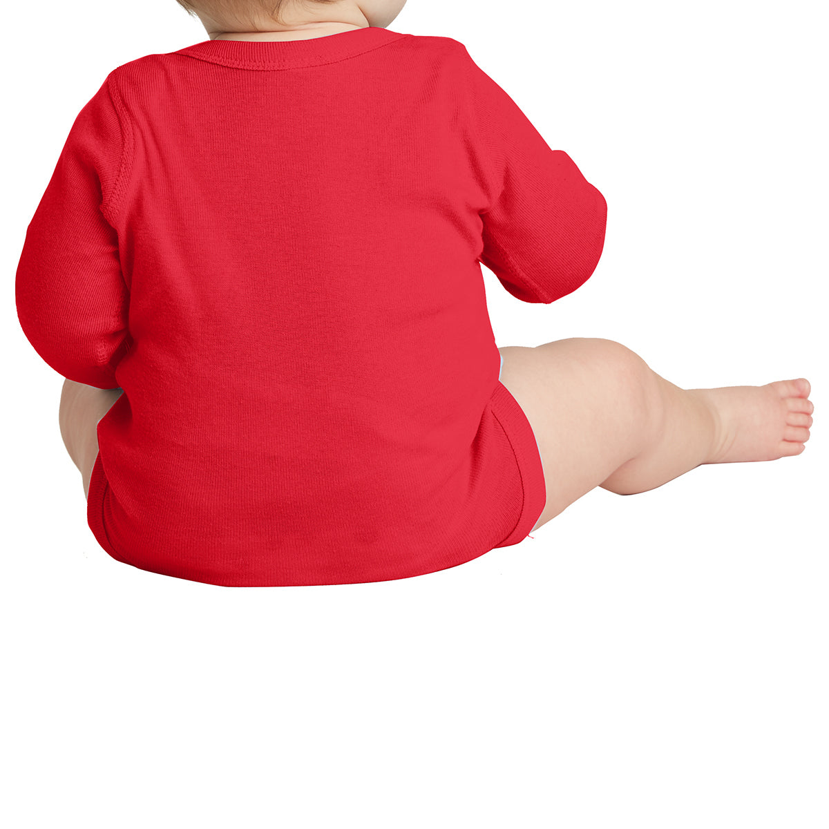 Infant Long Sleeve Baby Rib Bodysuit - Red