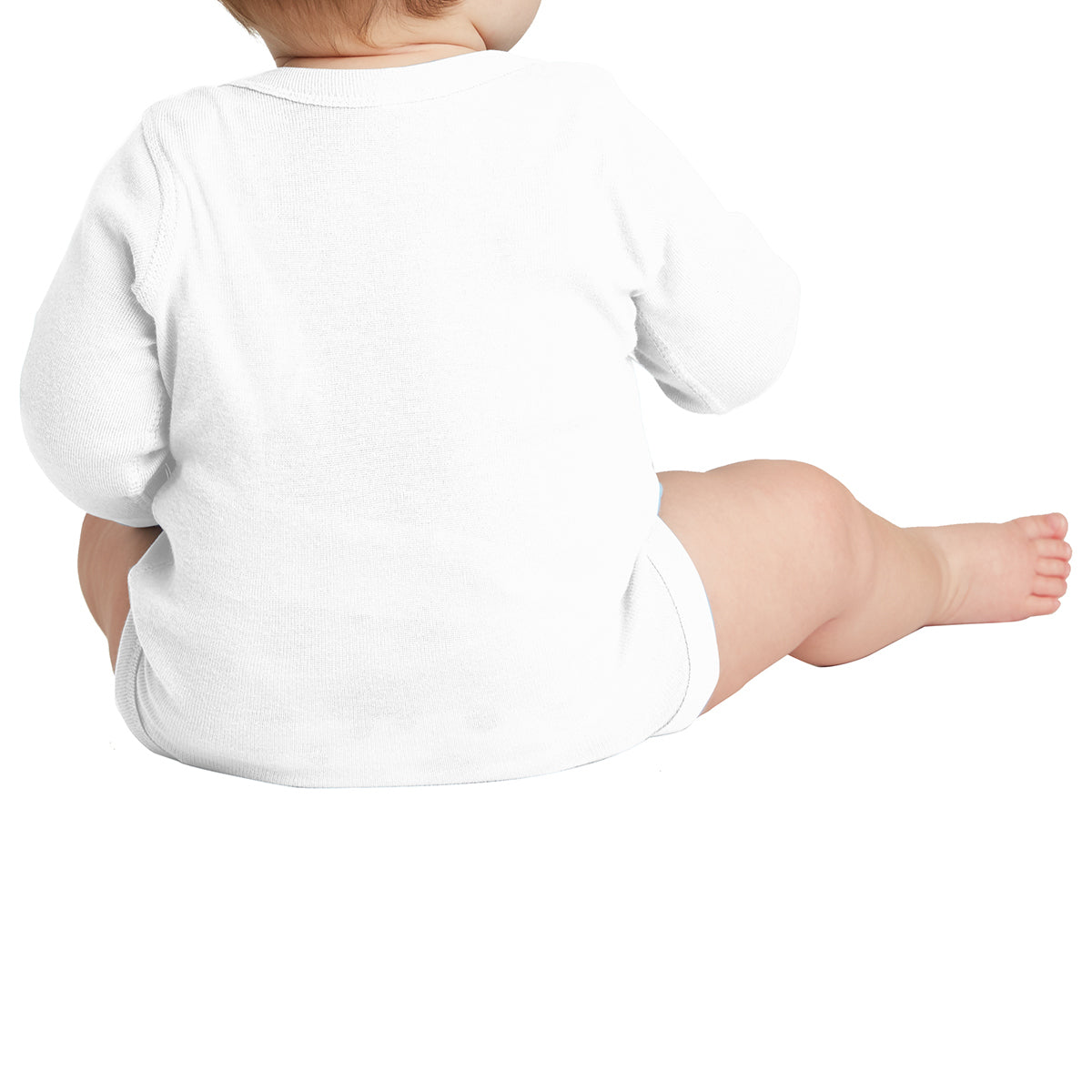 Infant Long Sleeve Baby Rib Bodysuit - White