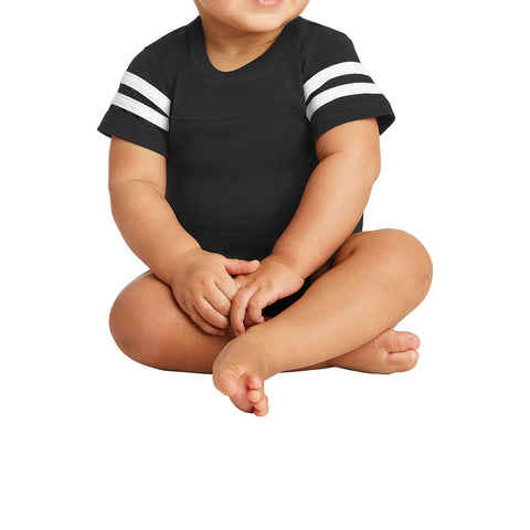 Infant Football Fine Jersey Bodysuit - Black/White