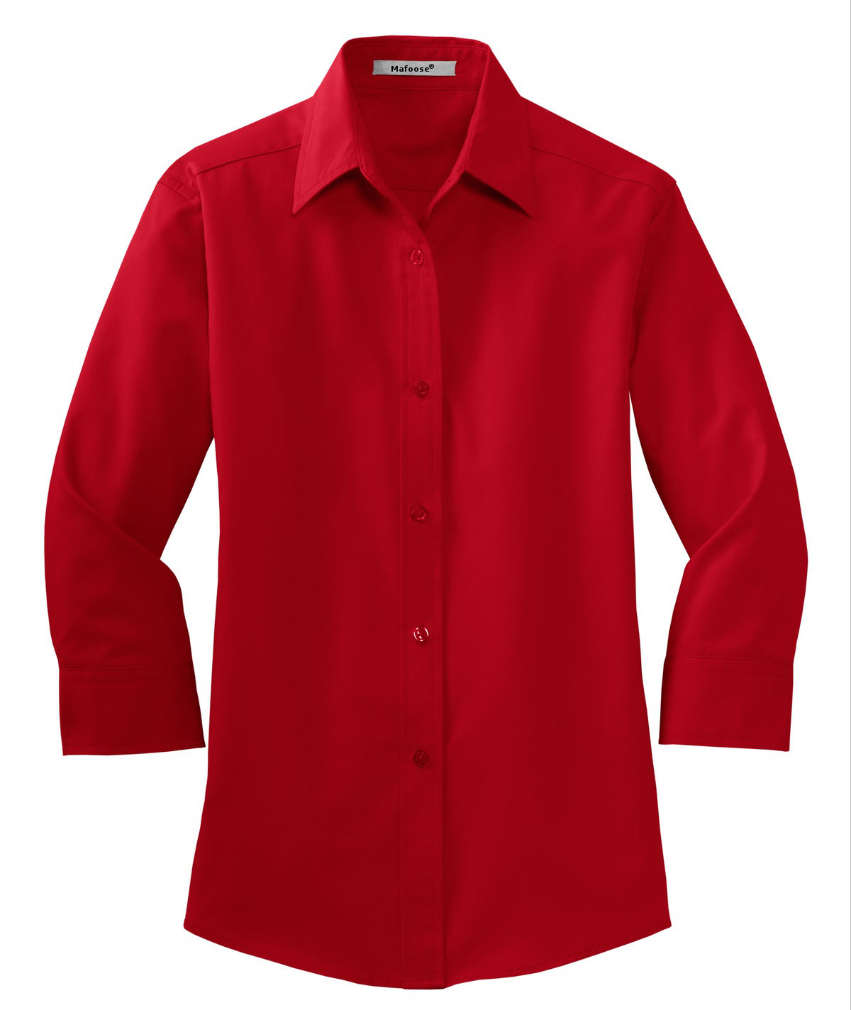 Mafoose Women's 3/4-Sleeve Traditional Easy Care Shirt Red-Front