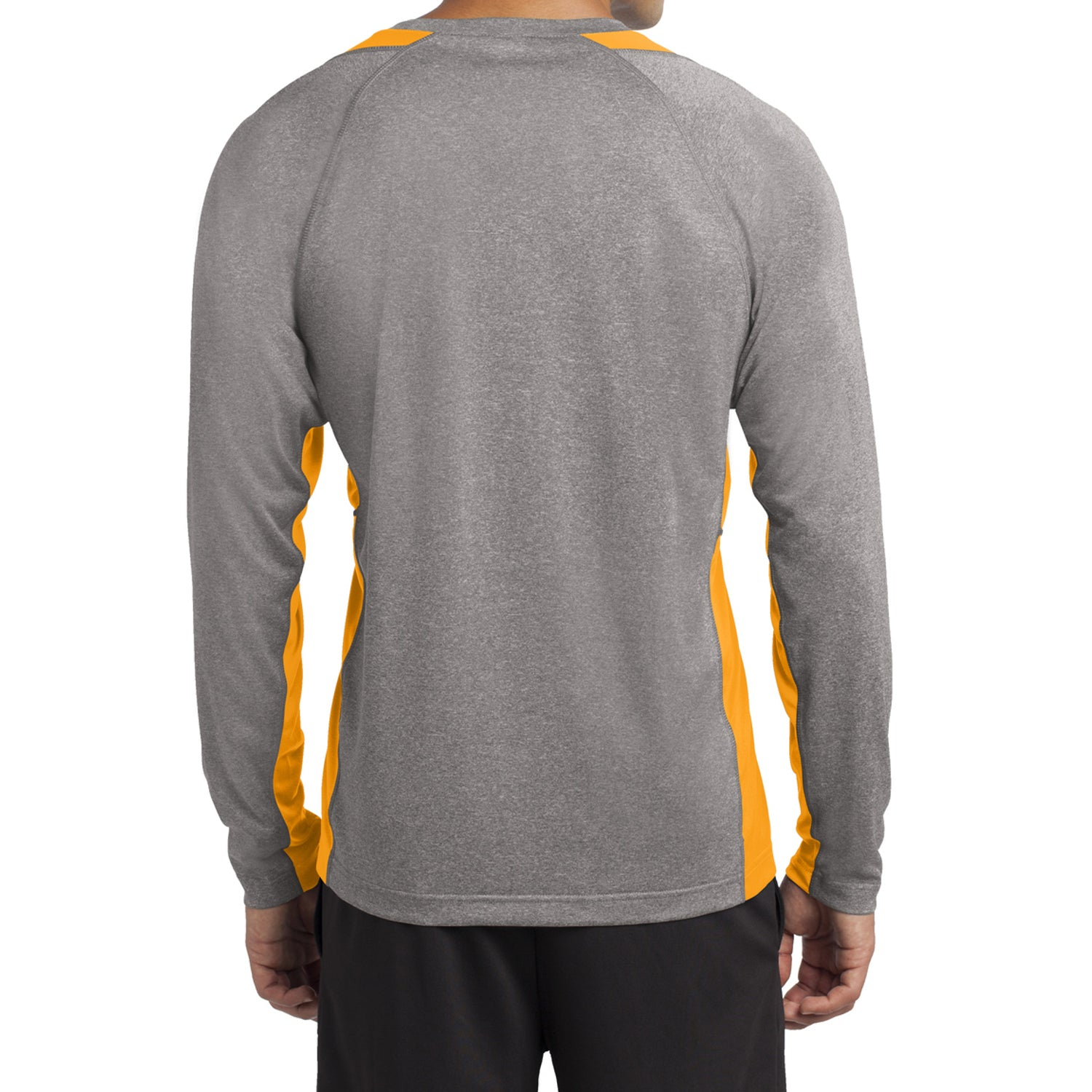 Mafoose Men's Long Sleeve Heather Colorblock Contender Tee Shirt Vintage Heather/ Gold-Back