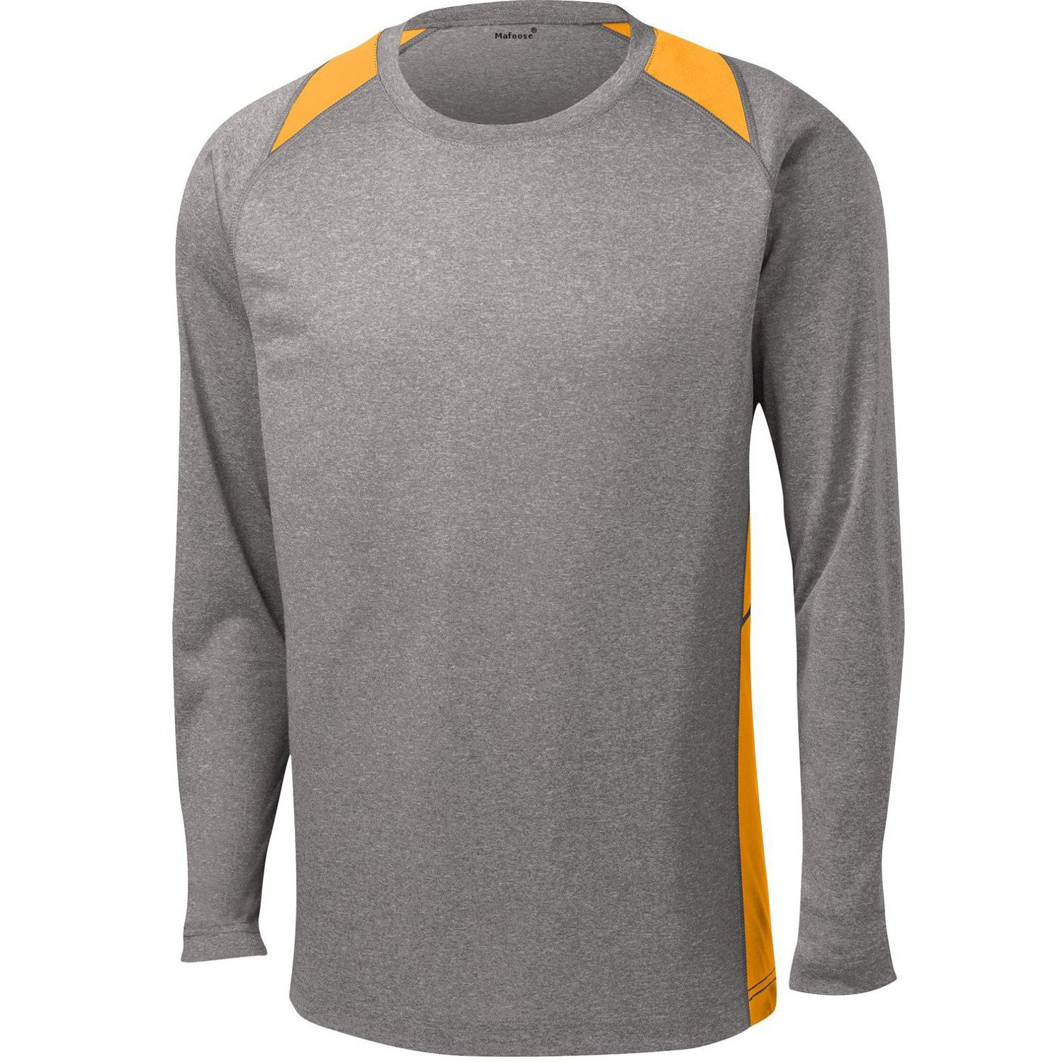Mafoose Men's Long Sleeve Heather Colorblock Contender Tee Shirt Vintage Heather/ Gold-Front