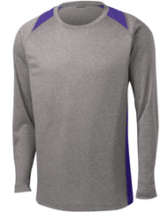 Mafoose Men's Long Sleeve Heather Colorblock Contender Tee Shirt Vintage Heather/ Purple-Front