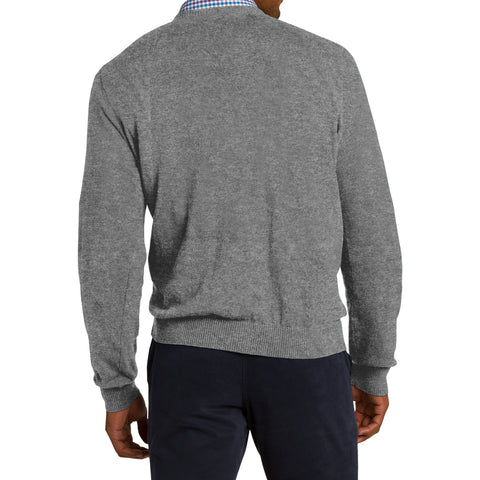 Mafoose Men's V Neck Sweater Medium Heather Grey-Back