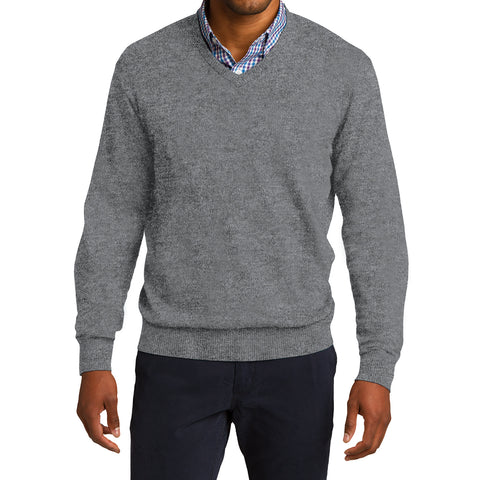 Mafoose Men's V Neck Sweater Medium Heather Grey-Front