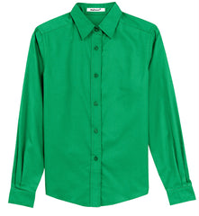Mafoose Women's Long Sleeve Easy Care Shirt Court Green-Front