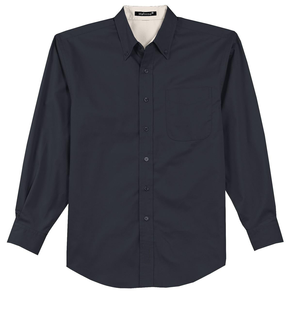 Mafoose Men's Tall Long Sleeve Easy Care Shirt Classic Navy/ Light Stone-Front