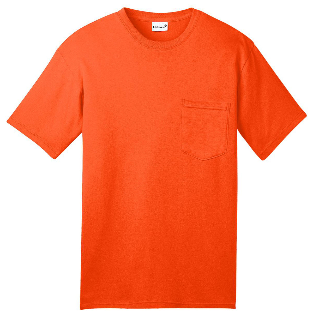 Mafoose Men's All American Tee Shirt with Pocket Safety Orange-Front