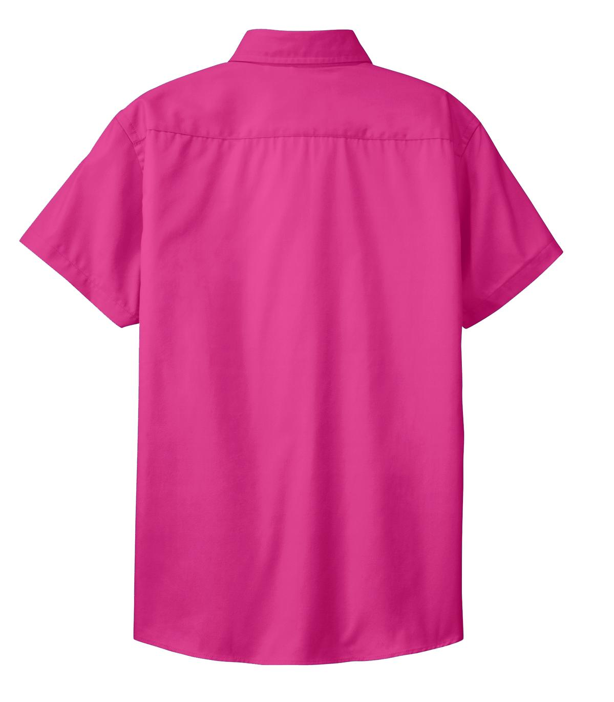 Mafoose Women's Comfortable Short Sleeve Easy Care Shirt Tropical Pink-Back