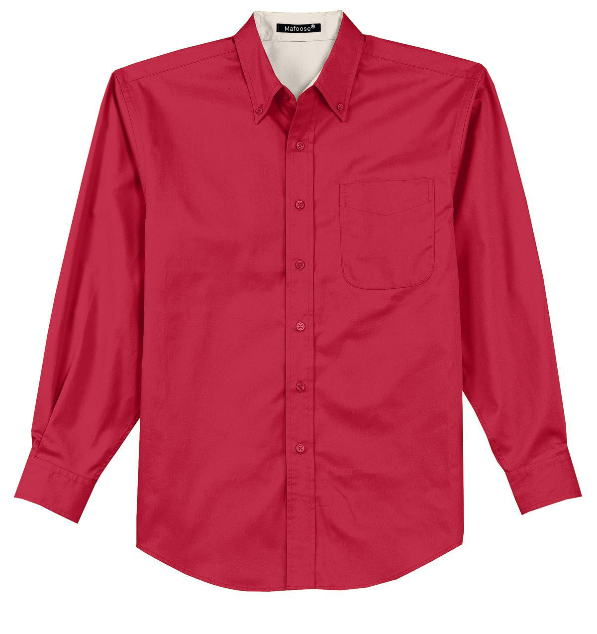 Mafoose Men's Tall Long Sleeve Easy Care Shirt Red/ Light Stone-Front