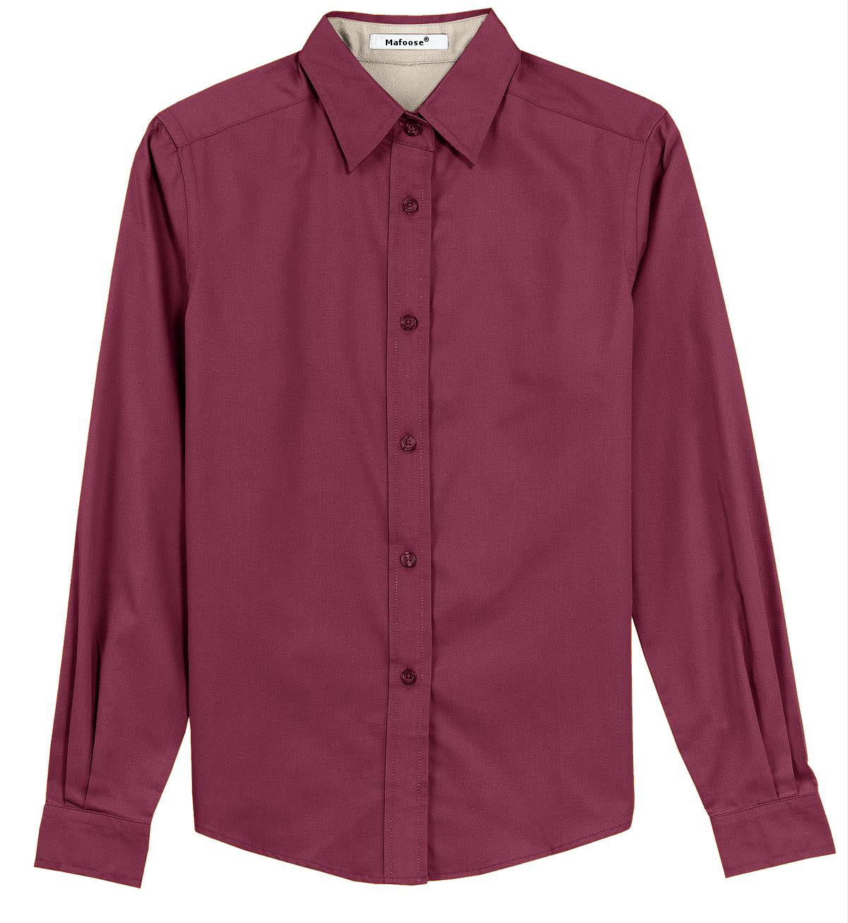 Mafoose Women's Long Sleeve Easy Care Shirt Burgundy/Light Stone-Front