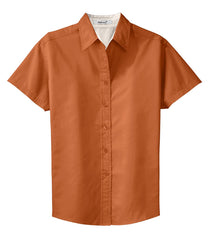 Mafoose Women's Comfortable Short Sleeve Easy Care Shirt Texas Orange/Light Stone-Front