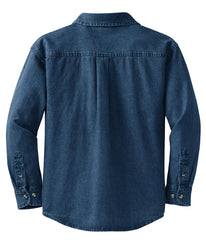 Mafoose Women's Long Sleeve Value Denim Shirt Ink Blue-Back