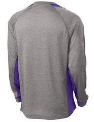 Mafoose Men's Long Sleeve Heather Colorblock Contender Tee Shirt Vintage Heather/ Purple-Back