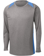 Mafoose Men's Long Sleeve Heather Colorblock Contender Tee Shirt Vintage Heather/ Carolina Blue-Front