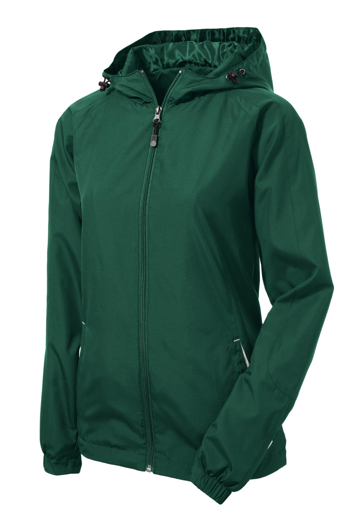 Mafoose Women's Colorblock Hooded Raglan Jacket Forest Green/White-Front