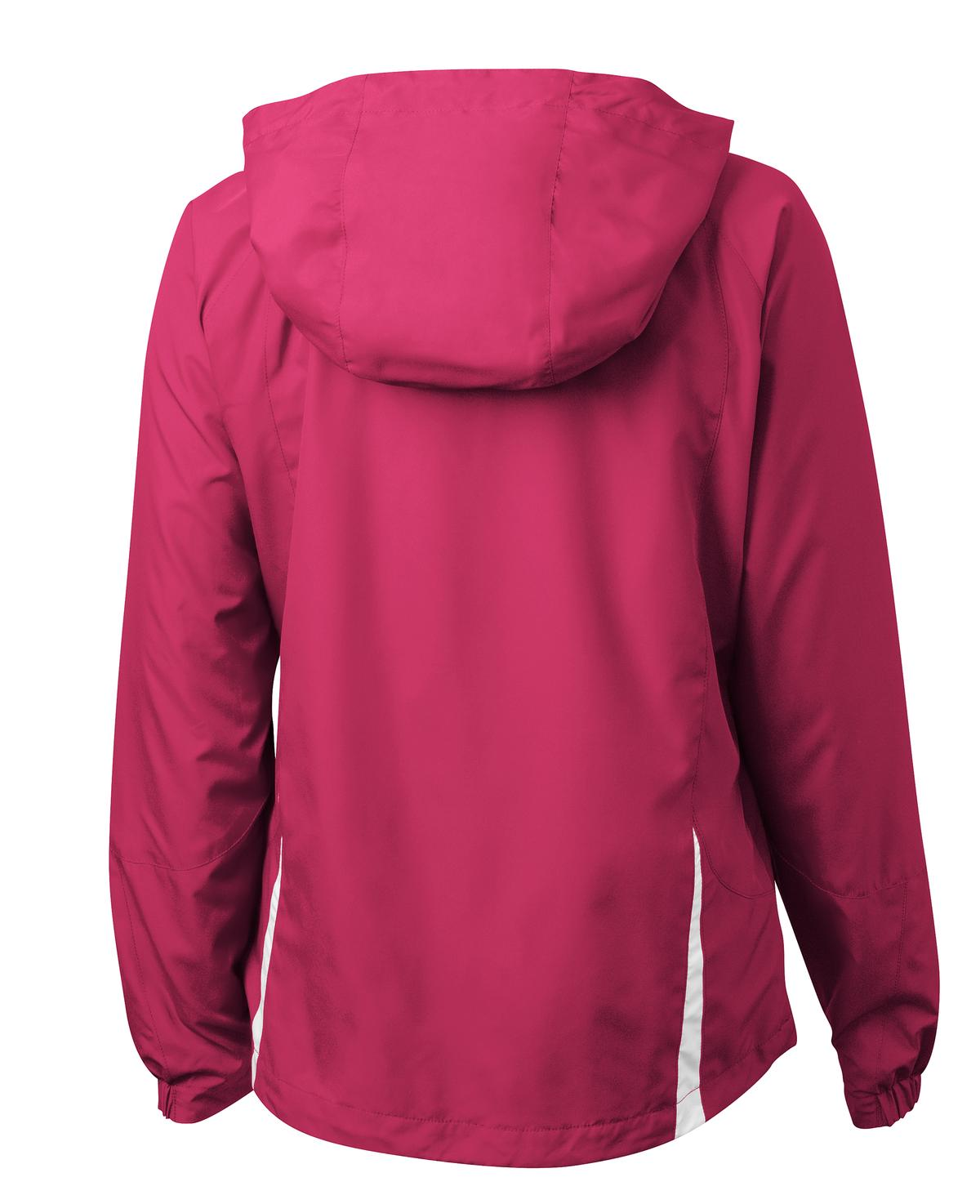 Mafoose Women's Colorblock Hooded Raglan Jacket Pink Raspberry/White-Back