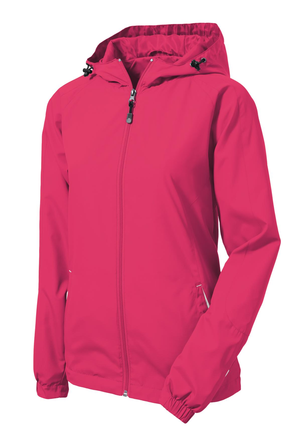 Mafoose Women's Colorblock Hooded Raglan Jacket Pink Raspberry/White-Front