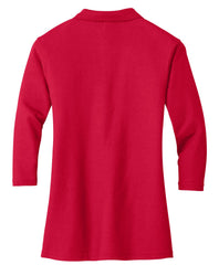 Mafoose Women's Silk Touch ¾ Sleeve Polo Shirt Red-Back