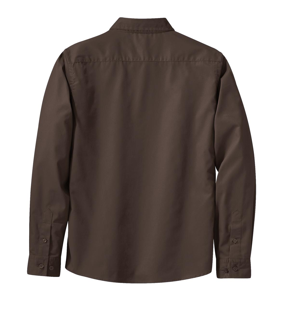 Mafoose Women's Long Sleeve Easy Care Shirt Coffee Bean/Light Stone-Back